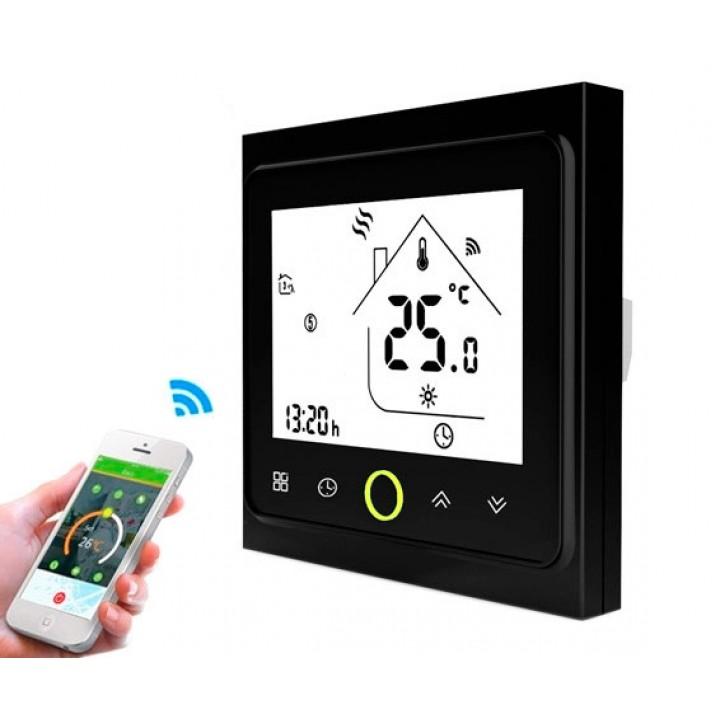 Терморегулятор Wi-Fi для ел теплої підлоги 220В 16А BHT-002-GBLW, чорний, 100573