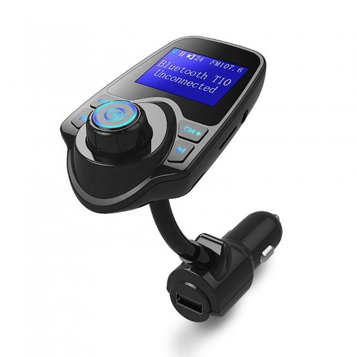 Автомобільний FM-модулятор Bluetooth Handsfree USB AUX MicroSD T10, гнучкий, 105608