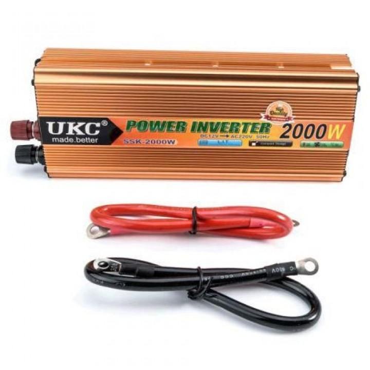 Перетворювач напруги DC/AC авто інвертор 2000Вт 12-220В SSK-2000W, 105647