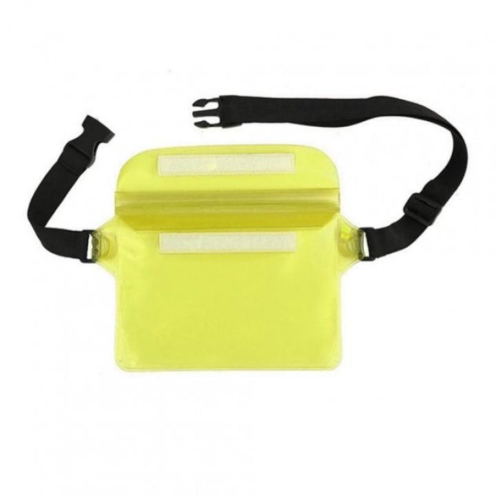 Водонепроникна сумка чохол для грошей телефону плавання, 22х22см жовта, 105656