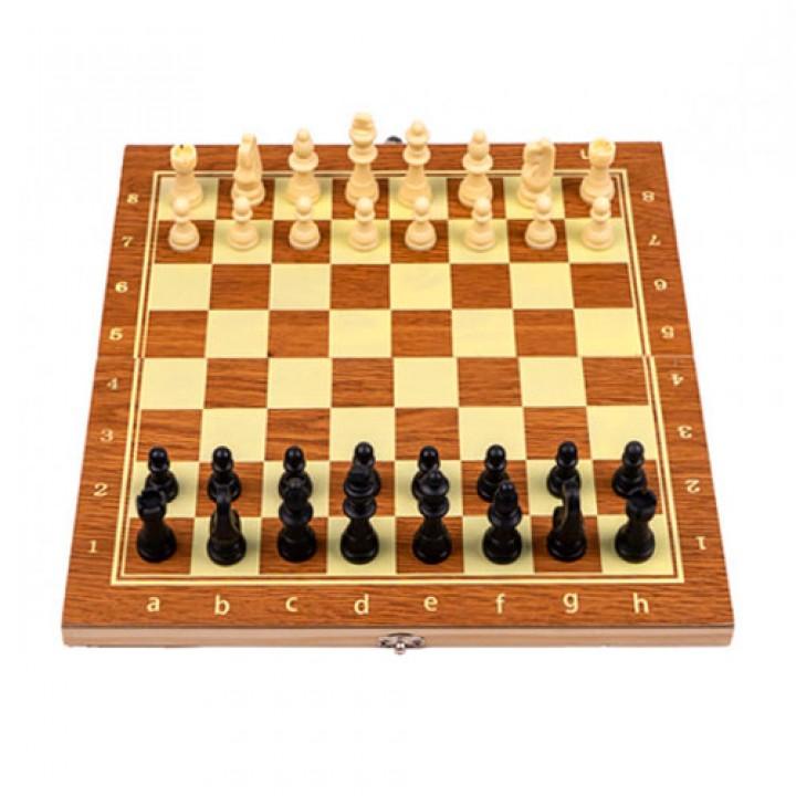 Настільна гра 3в1 шахи, шашки, нарди, 29х29см, дерево, 105664