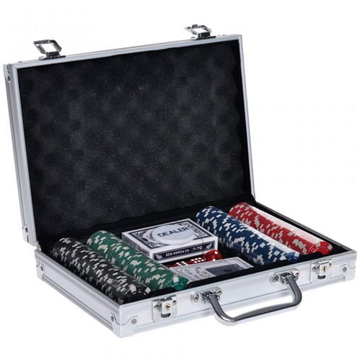 Набір для покеру в валізі: карти, 200 фішок, кубики, покерний, 100979