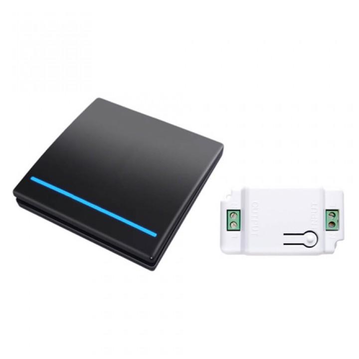 Вимикач бездротової, 1 клавіша, 1 модуль, WHK01 чорний, 105571