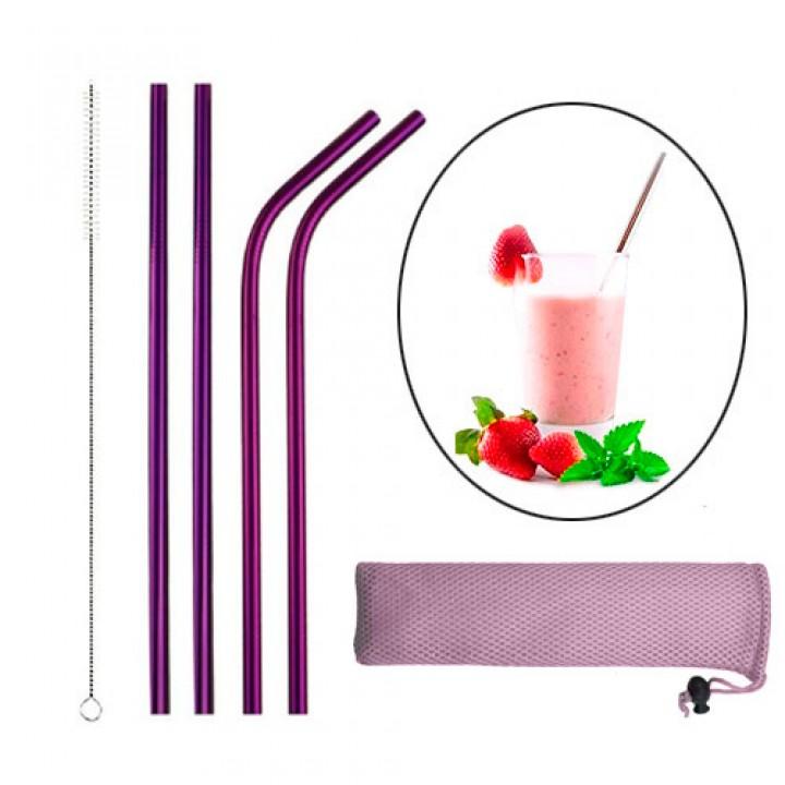 Набір з 4 металевих еко соломинок трубочок для напоїв, фіолетовий, 105564