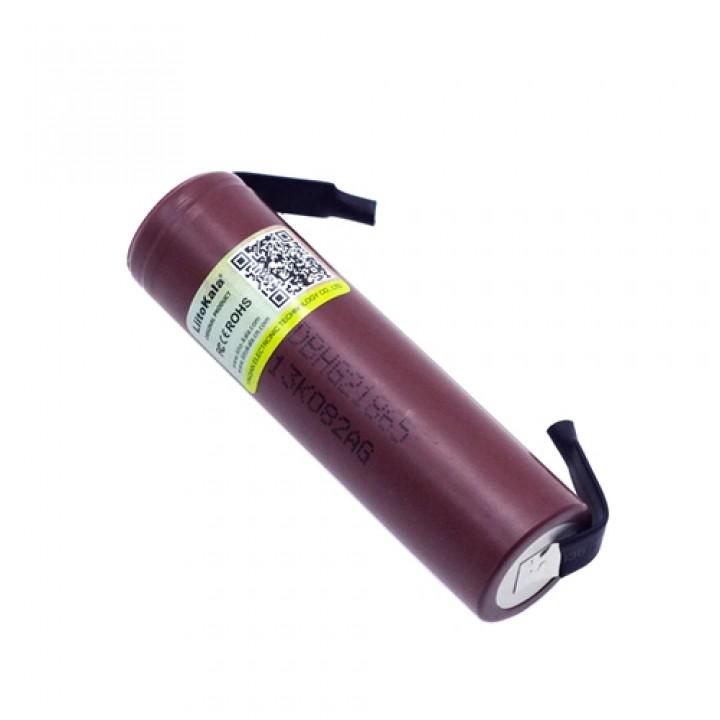 Акумулятор 18650 високотоковий Li-ion 3.6В 3000мАч 20А Liitokala з клемами, 100371