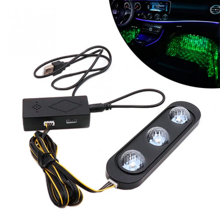 Декоративна RGB LED підсвічування зони ніг салону авто з пультом, зоряне небо, 100227