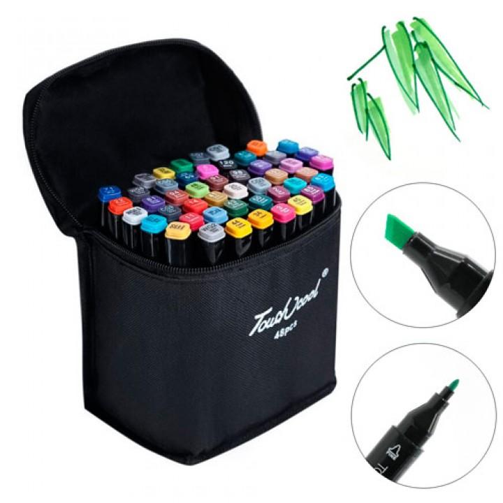 Набір двосторонніх маркерів 48шт, спиртові скетч маркери в чохлі, 105592