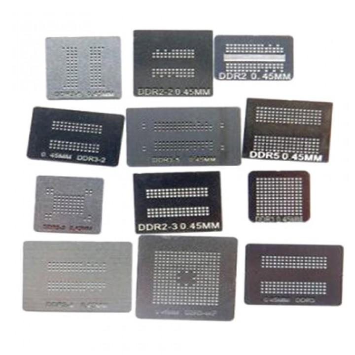 Набір з 12 BGA трафаретів для пам'яті DDR DDR2 DDR3, 101506