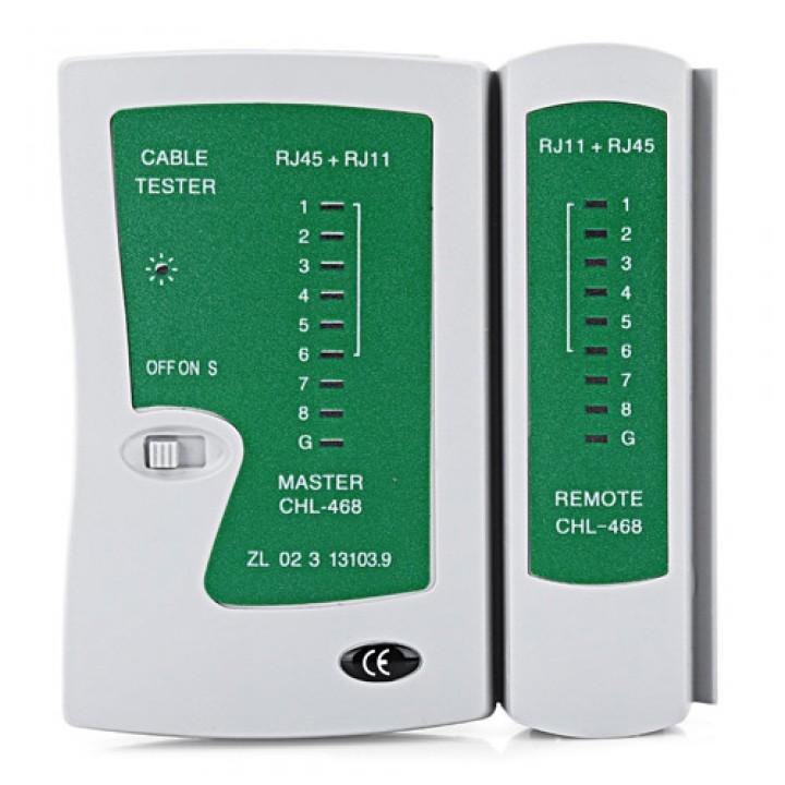 Тестер мережі, телефонного кабелю, RJ45 RJ11 зелений, 101615