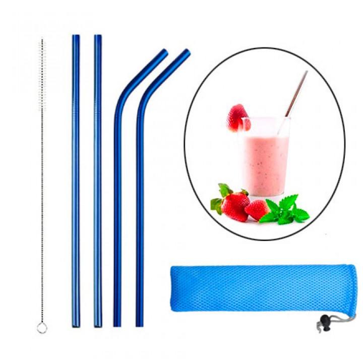 Набір з 4 металевих еко соломинок трубочок для напоїв, синій, 105562