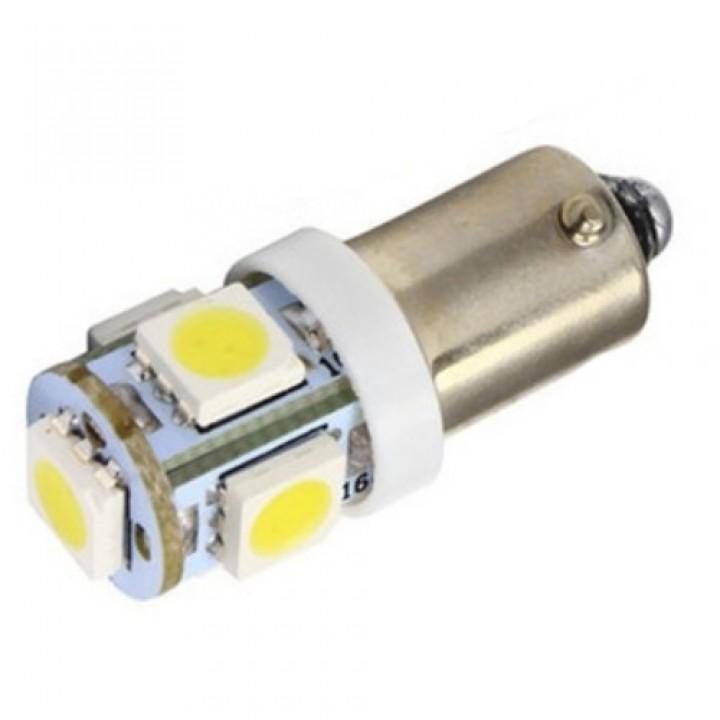 2x LED BA9S T4W лампа в автомобіль, 4 + 1 SMD 5050, білий, 100192