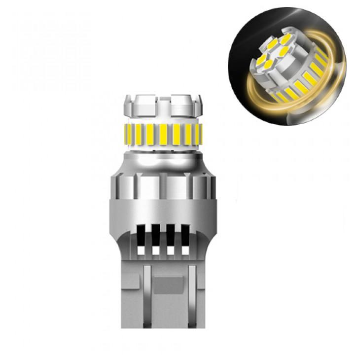 LED T20 W21W лампа в автомобіль, 18 + 5 SMD 4014 3030, з обманкою, білий, 105548