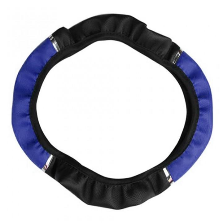 Обшивка чохол на кермо, шкірозамінник, 38см, БЕЗ обтяжку, синя, 105556