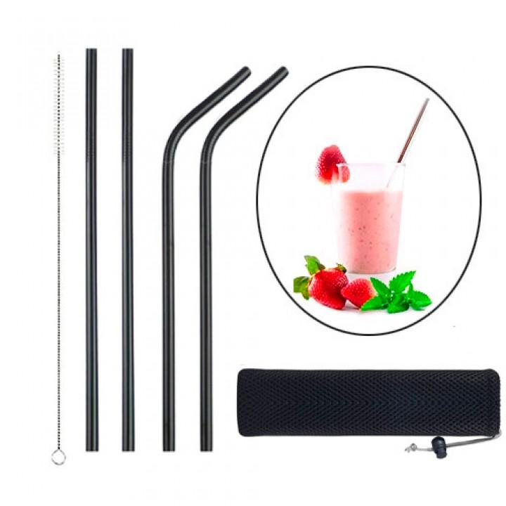Набір з 4 металевих еко соломинок трубочок для напоїв, чорний, 105559