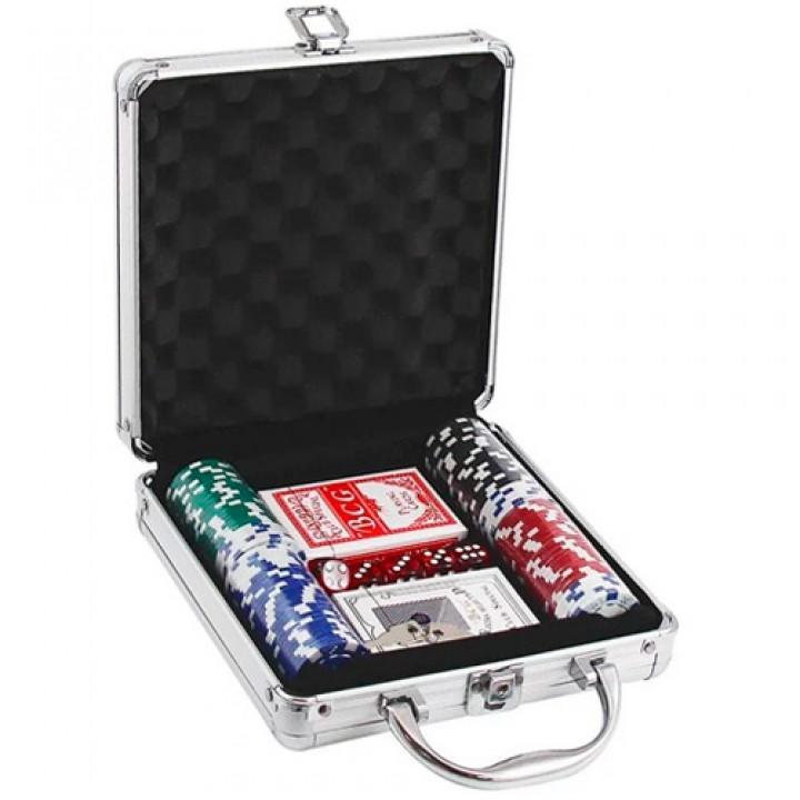 Набір для покеру в валізі: карти, 100 фішок, кубики, покерний, 100829