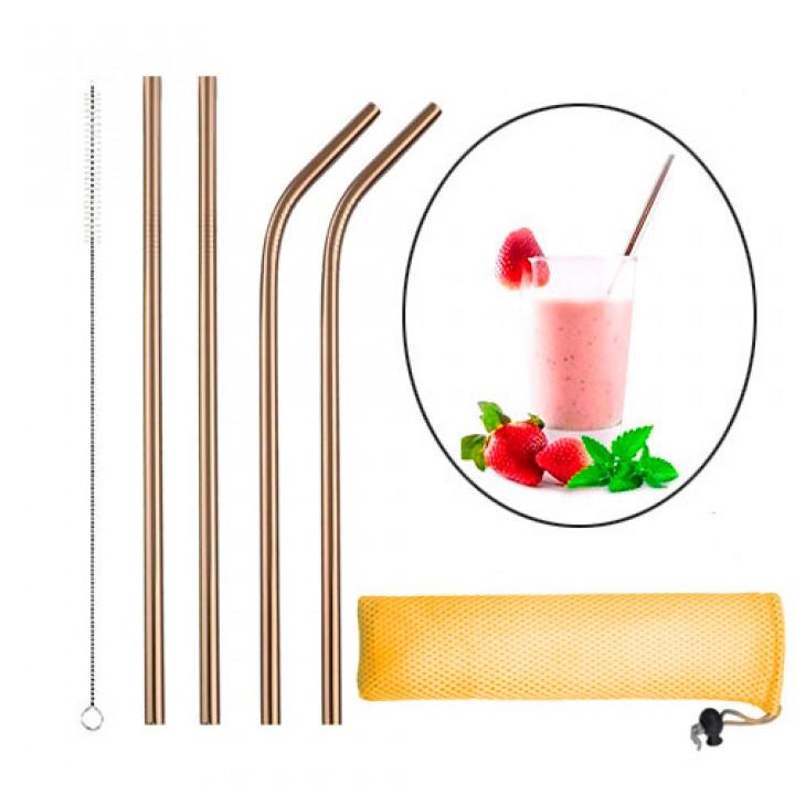 Набір з 4 металевих еко соломинок трубочок для напоїв, рожеве золото, 105563