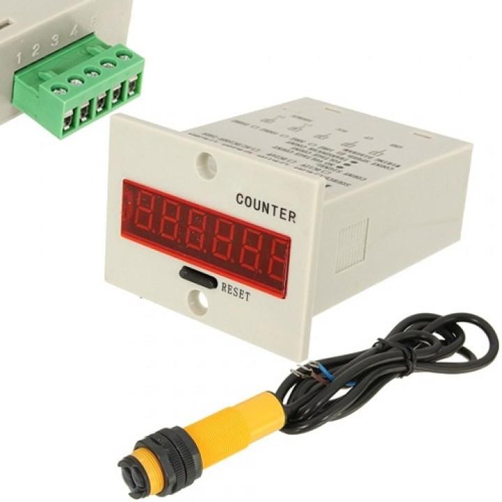 Система підрахунку, лічильник промисловий цифровий 220В з фотодатчиком, 101101