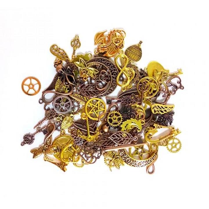 Набір з 100 металевих підвісок Шарм шарміков, змішані, золото, 100695