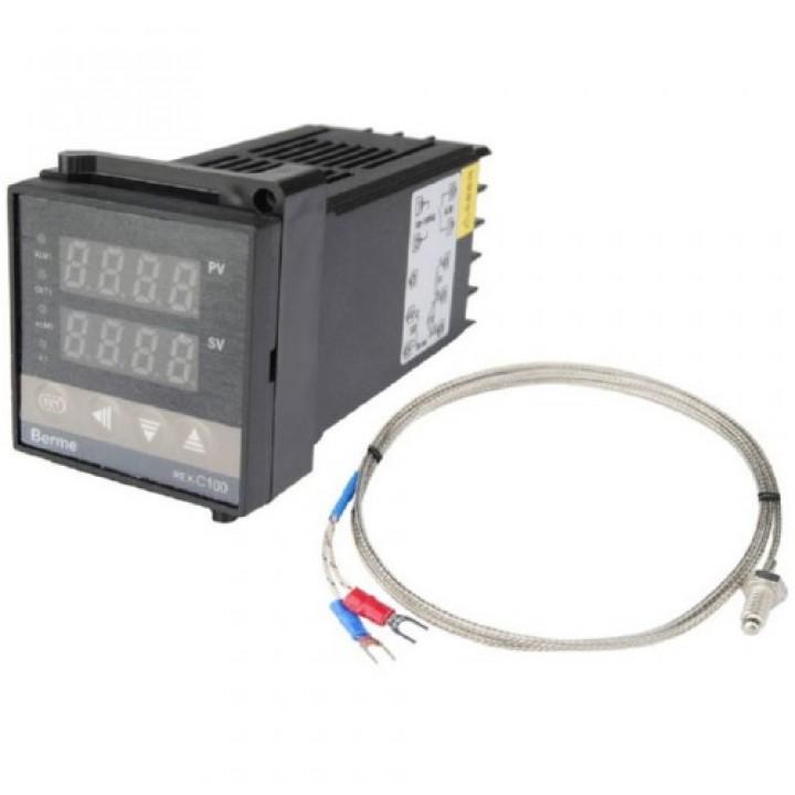 ПІД-терморегулятор REX-C100 + термопара, релейний вихід, 100588